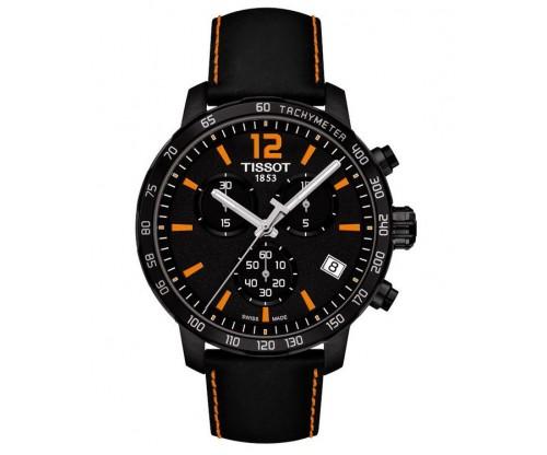 TISSOT T-Sport Quickster Chronograph Black Leather Strap