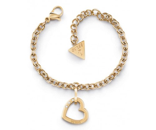 GUESS Hearted Chain, Bracelet, Stainless Steel, Gold-tone plated