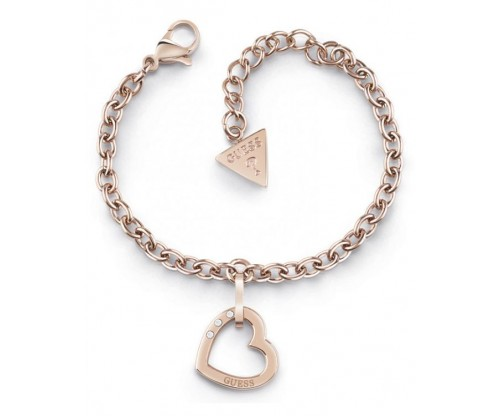 GUESS Hearted Chain, Bracelet, Stainless Steel, Rose Gold-tone plated