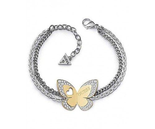 GUESS Bracelet, Stainless Steel, Silver, Gold-tone plated