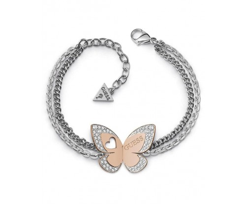 GUESS Love Butterfly, Bracelet, Stainless Steel, Silver and Rose Gold-tone plated