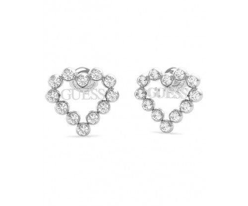 GUESS Heart Romance, Earrings, Stainless Steel, Silver-tone plated