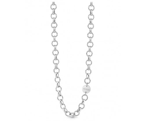 GUESS Necklace, Stainless Steel, Silver-tone plated