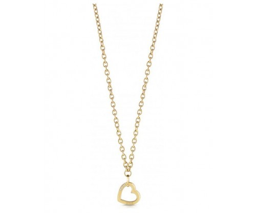 GUESS Hearted Chain, Necklace, Stainless Steel, Gold-tone plated