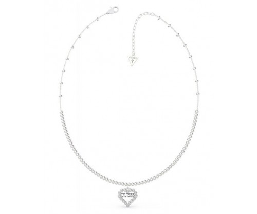 GUESS Heart Romance, Necklace, Stainless Steel, Silver-tone plated