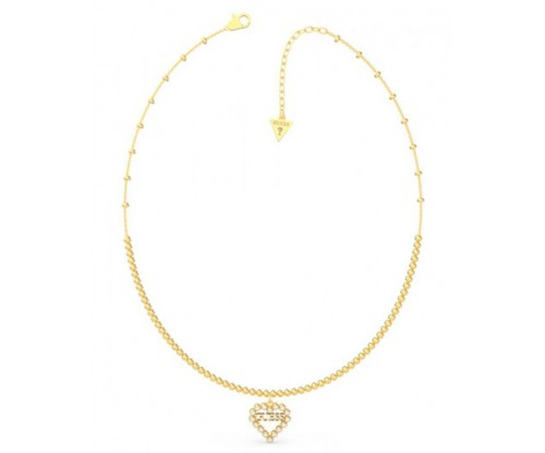 GUESS Heart Romance, Necklace, Stainless Steel, Gold-tone plated
