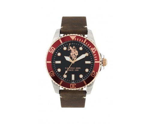 U.S. POLO Βrown Leather Strap