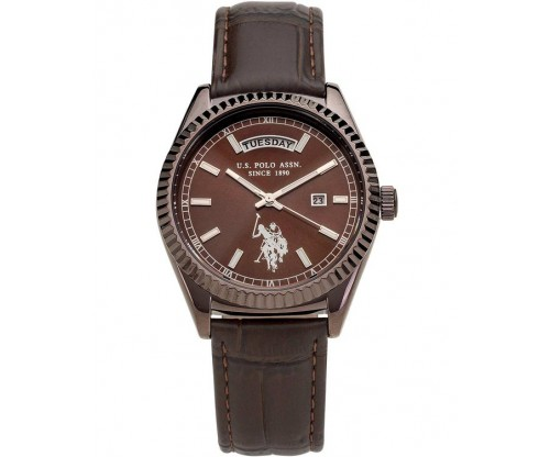 U.S. POLO Aram Brown Leather Strap