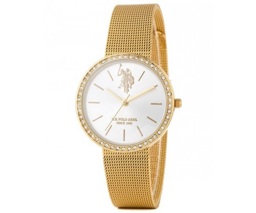U.S. POLO Coral Crystals Gold Stainless Steel Bracelet