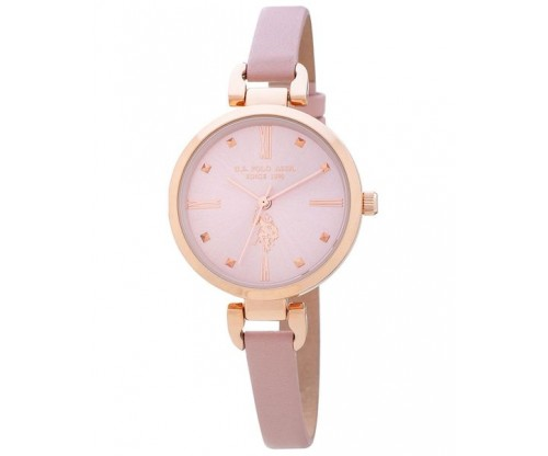 U.S. POLO Eloise Pink Leather Strap