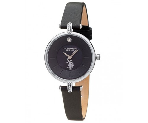 U.S. POLO Helen Crystals Black Leather Strap
