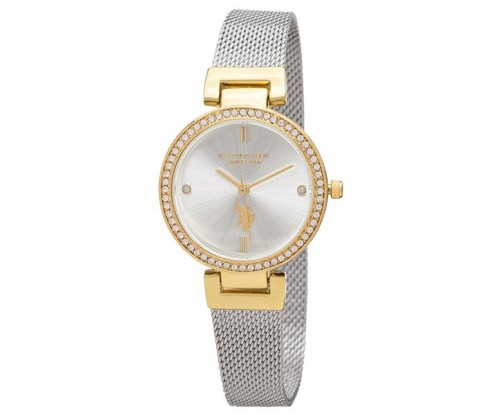 U.S. POLO Giselle Crystals Two Tone Stainless Steel Bracelet