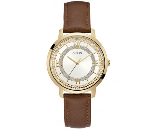 GUESS Crystals Gold Brown Leather Strap